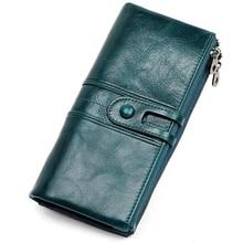 Cartera de mano de piel auténtica para mujer, monedero femenino, portatarjetas con abrazadera para tarjeta del bolso del teléfono, práctico soporte para pasaporte