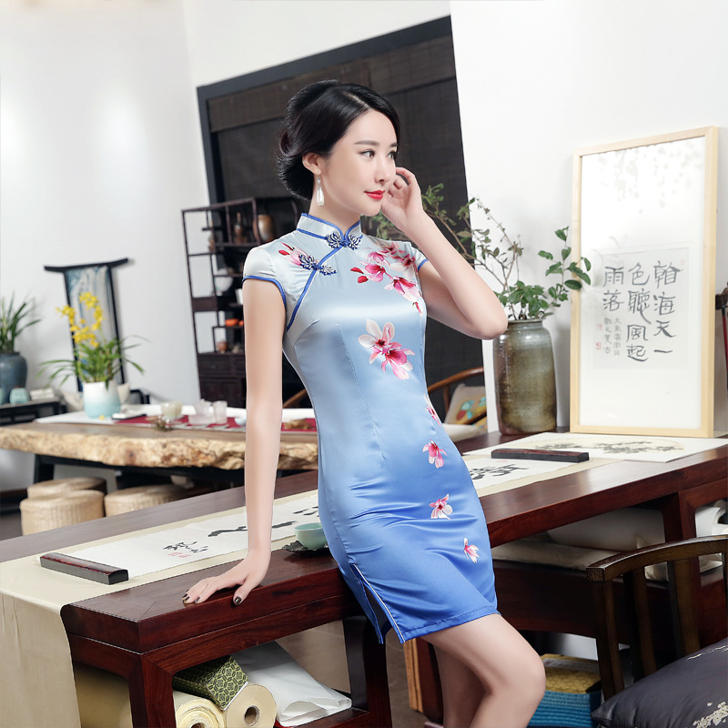 New Style WOMEN'S Dress-Style Elegant Improved Cheongsam Dress Retro Slim Fit Slit Silk Cheongsam Manufacturers Direct Wholesale