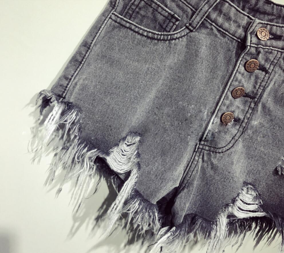 Denim women shorts high waists fur-lined