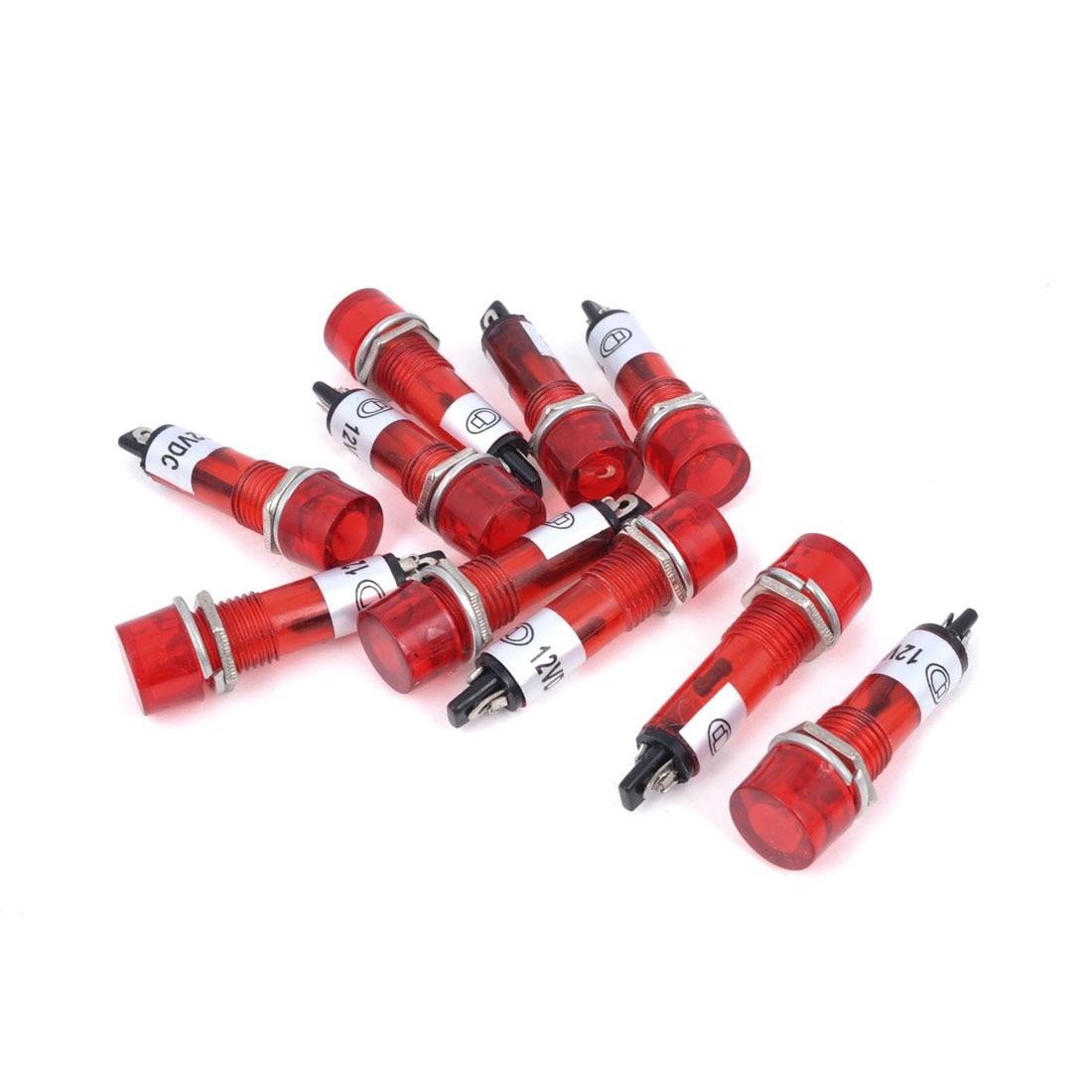 Uxcell 10 шт. красный свет AC DC 12 В индикатор сигнала питания Пилот лампа 9 мм хороший аксессуар