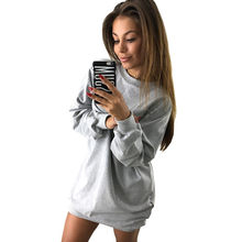 Women Long Hoodies Sweatshirts 2019 Autumn Casual Solid O-Neck Loose Oversized Hoodie Dress Lady Long Sleeve Hoodies Sweatshirts(China)