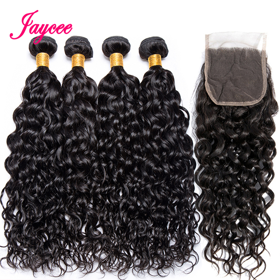 Jaycee Hair Water Wave Bundles With Closure Brazilian Hair Weave Bundles With Closure Remy Human Hair 3 Bundles With Closure