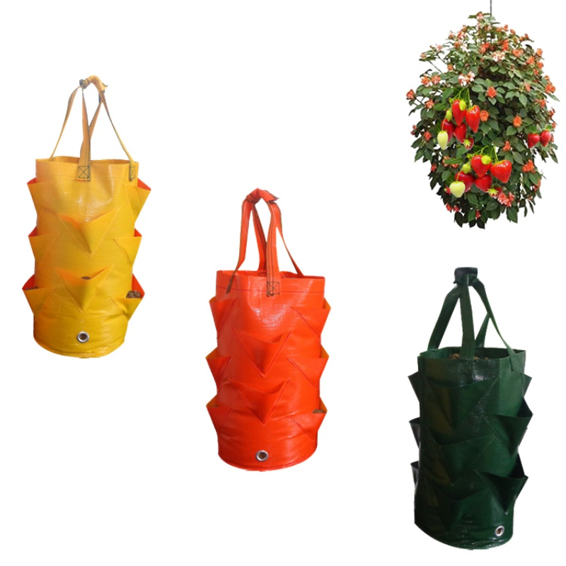 3 Gallon Strawberry Planter Bag For Growing Potato Outdoor Garden Hanging Vegetable Planting Grow Bag With Side Pockets