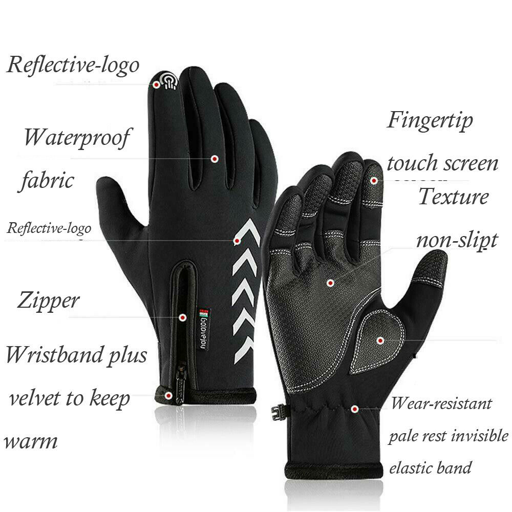 Winter Warm Gloves Touch Screen Waterproof Anti-slip for Cycling Driving Sports