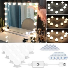LED Makeup Mirror Light Bulb 12V Hollywood Vanity Lights Stepless Dimmable Wall Lamp 6 10 14 Bulbs Kit for Dressing Table Room