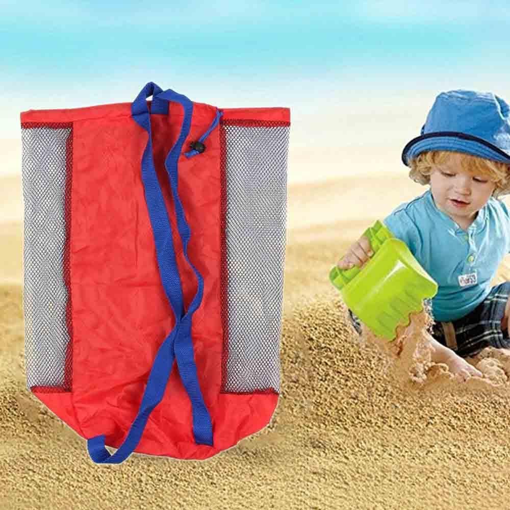 Portable Colorful Beach Toy Bag Foldable Nylon Mesh Swimming Bag Kids StorageTools Bag Storage Bag ChildrenToys 45*25cm