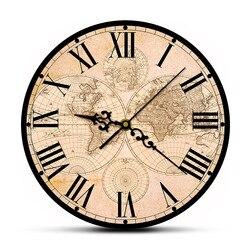 17th Century antik dünya haritası güzel sanatlar baskı Modern duvar saati tarihi dünya haritası sessiz süpürme duvar saati eve taşınma hediye
