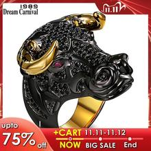 DreamCarnival 1989 Chunky Black Bull with Golden Color Horns Punk Hip Hop CZ Big Ring for Unisex Men Women Street Fashion SR2314