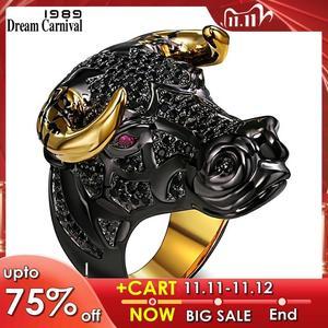 Image 1 - DreamCarnival 1989 массивное кольцо черного быка с золотыми рожками в стиле панк хип хоп CZ для мужчин и женщин, уличная мода SR2314