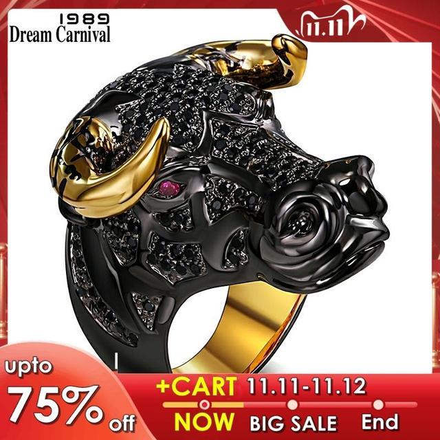 DreamCarnival 1989 массивное кольцо черного быка с золотыми рожками в стиле панк хип хоп CZ для мужчин и женщин, уличная мода SR2314