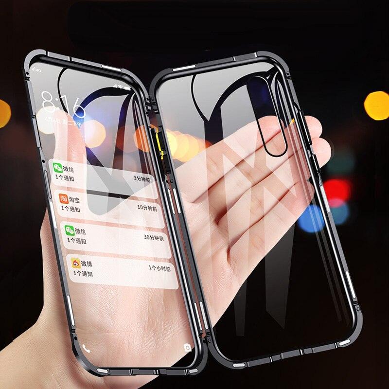 For Xiaomi Mi 6X Mia2 Magnetic Metal Bumper Cover Double-Sided Glass Full Body Case For Xiaomi MI8 To Exploratory The Version