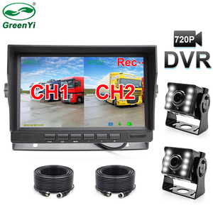 HD 1280*720P 7 Inch IPS Screen Truck Bus Car DVR Recorder Monitor With 2 Channels Front Rear Side AHD Camera(China)
