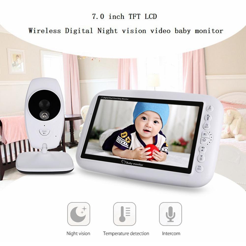 Беспроводной Детский монитор 7 дюймов Цветная камера безопасности ночного видения ИК Светодиодный контроль температуры