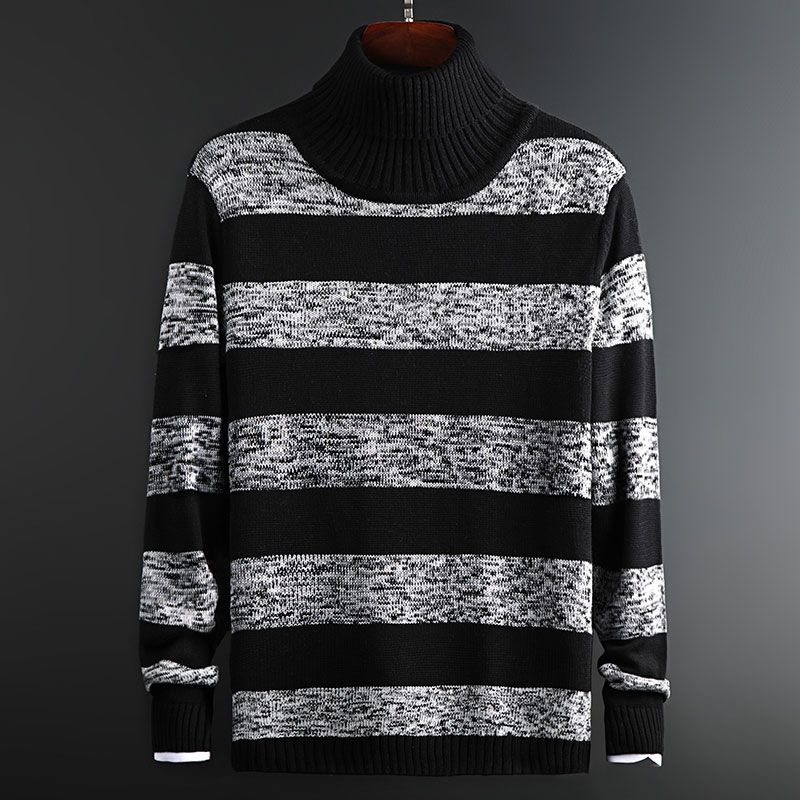 2019 New Fashion Brand Sweater Mens Pullovers Turtleneck Slim Fit Jumpers Knit Striped Autumn Korean Style Casual Men Clothes