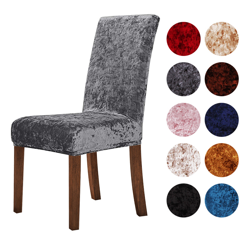 New Crushed Velvet Dining Chair Cover Spandex Elastic Chair Slipcover Dining Room Chair Case For Kitchen Wedding Banquet