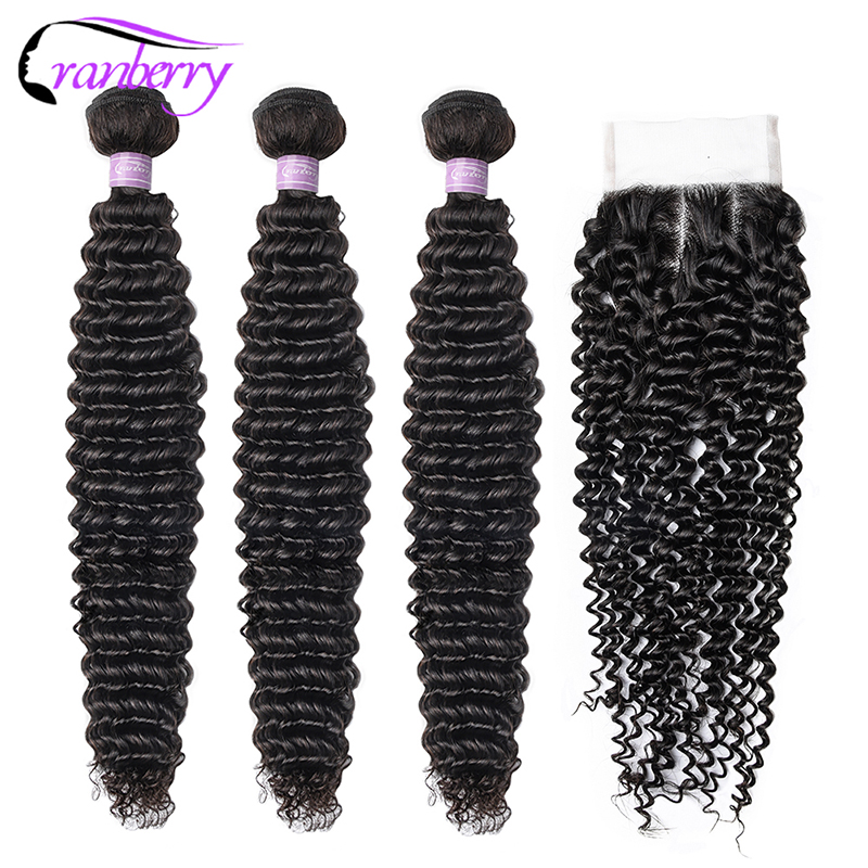 CRANBERRY Hair Curly Hair With Closure 100% Remy Peruvian Hair Bundles With Closure 4*4 Swiss Lace Free Middle Three Part