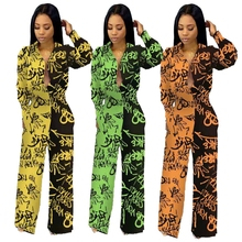 Letter Printed Rompers Womens Jumpsuit Wide Leg Long Pants Palazzo Loose Turn Down Collar Sexy Loose Overalls Graffiti Painting palazzo leg striped cami jumpsuit