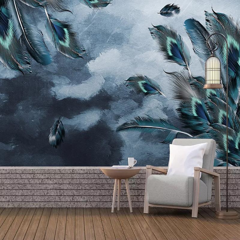 Custom 3D Photo Wallpaper Blue Peacock Feather Art Wall Painting Living Room Bedroom Study Room Background Wall Decoration Mural