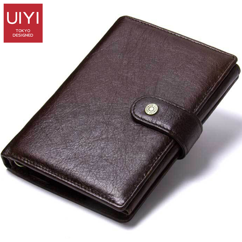 Multifunctional Buckle ID Holder Vertical Square Genuine Leather Solid Color Short Purse Casual Fashion Portable Men's Purse
