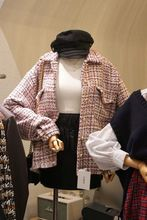 Autumn 2019 New Women Chiffon Tweed Coat Plaid Turn-down Collar Fashion Jackets and Coats
