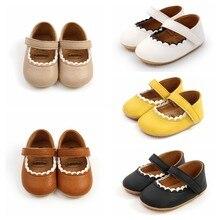 Sapatos de couro macio do bebê mocassins sola de borracha recém-nascido primeiros caminhantes borda floral da criança sapatos infantis meninas anti-deslizamento prewalker