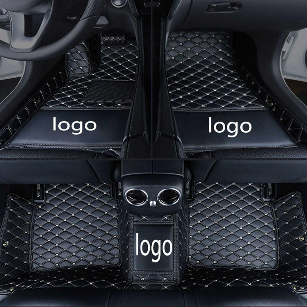 Auto vloermatten met Logo/Merk Logo gemaakt voor Hyundai Santa Fe 5D perfect fit anti slip case zware duty auto-styling tapijt tapijten l