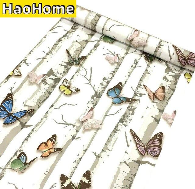 HaoHome-papier peint auto-adhésif papillon, papier de Contact avec peau et bâton, pour décoration détagère de chambre à coucher, de tiroir