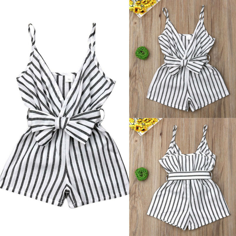 Summer Newborn Kid Baby Girl Striped Strap Romper Sunsuit Bow Outfit Clothes