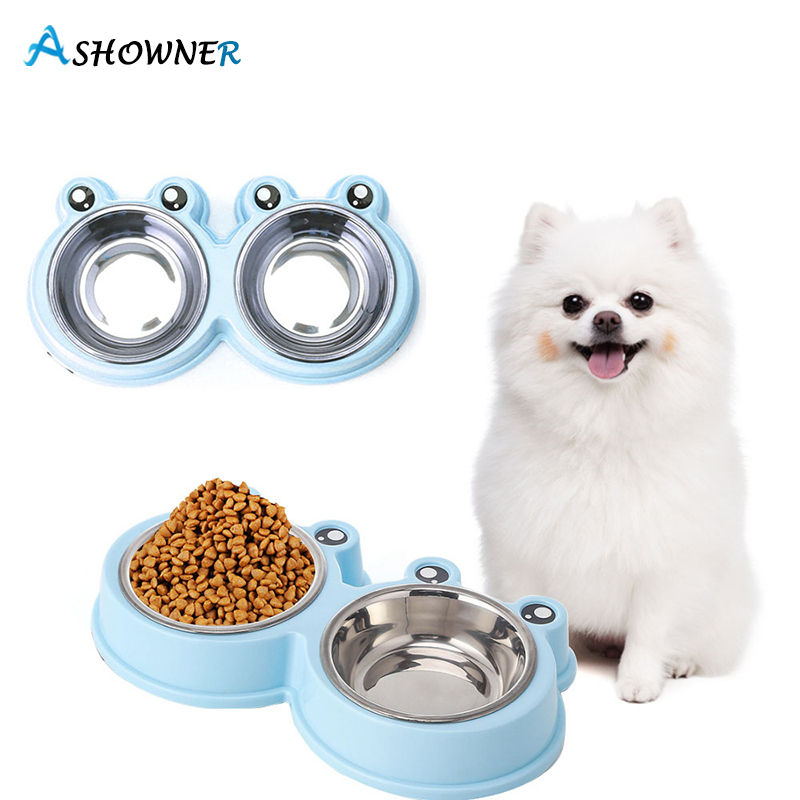 Pet Bowls Dog Food Water Feeder Stainless Steel Pet Drinking Dish Feeder Cat Puppy Feeding Supplies Small Dog Accessories