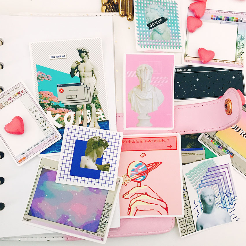 12pcs Virtual Space Stickers Crafts And Scrapbooking Stickers Book Student Label Decorative Sticker DIY Stationery