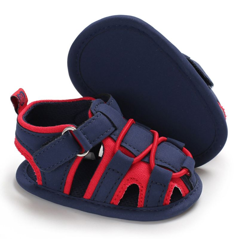 Infant Baby Boys Summer Faux Leather Beach Soft Sole Non-Slip Hollow Out Cross Bandage Toddler First Walkers Crib Shoes