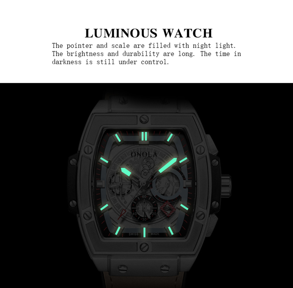 ONOLA top luxury brand quartz watch man lumious tonneau square big wristwatch fashion casual style male watch relogio masculino