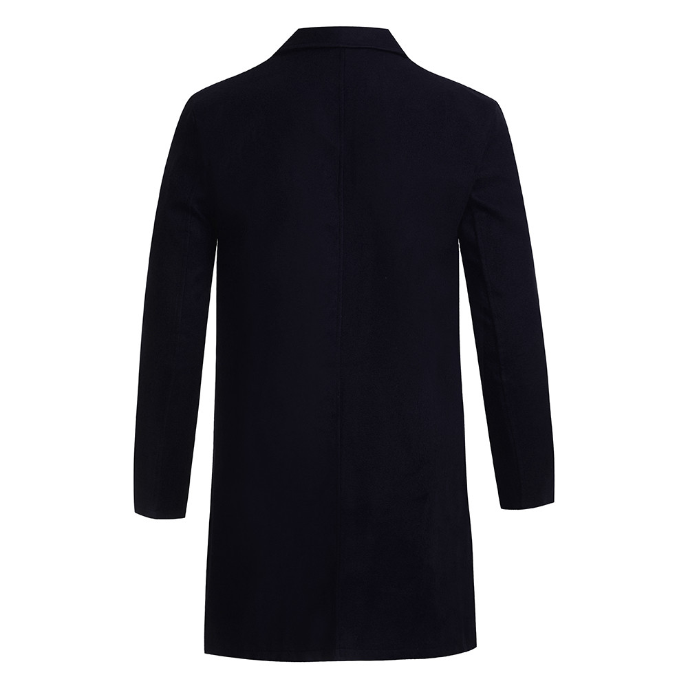 Men's Overcoat Fashion Autumn Winter Button Slim Long Sleeve Suit Jacket Trench Coat Casual high quality Mens Tops Blouse 020New 6
