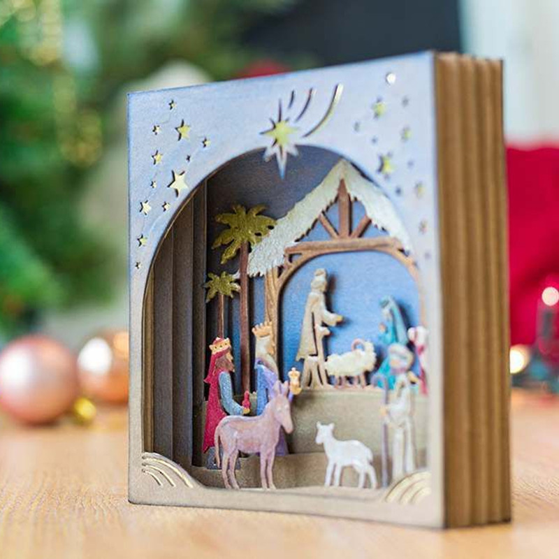 <font><b>Christmas</b></font> Nativity Scene Metal <font><b>Cutting</b></font> <font><b>Dies</b></font> for Scrapbooking New 2019 Craft <font><b>Die</b></font> Cut Card Making Embossing Stencil Photo Album image