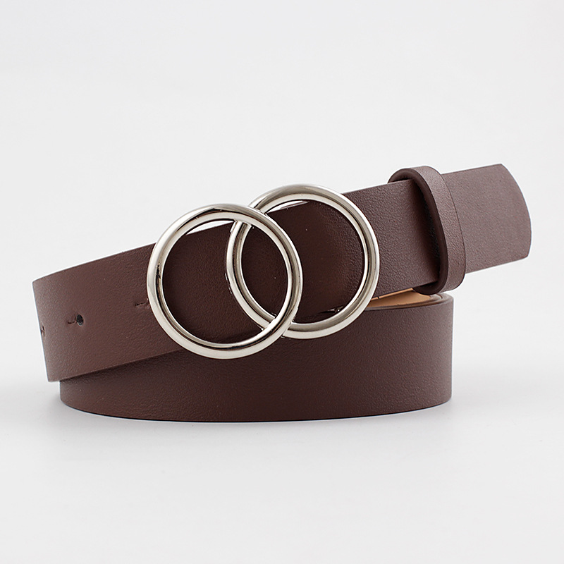 2020 New Designer Women's Double Round Circle Buckle Belt Waistbelt Female Wide Black White Pink Leather Belts For Womans Jeans