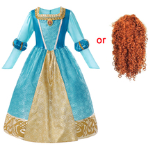 цена на Girls Halloween Dress up Costume Fancy Brave Merida Princess Dress Cosplay Costume for Kids 7-8T Merida Wig Cloak Party Supplies