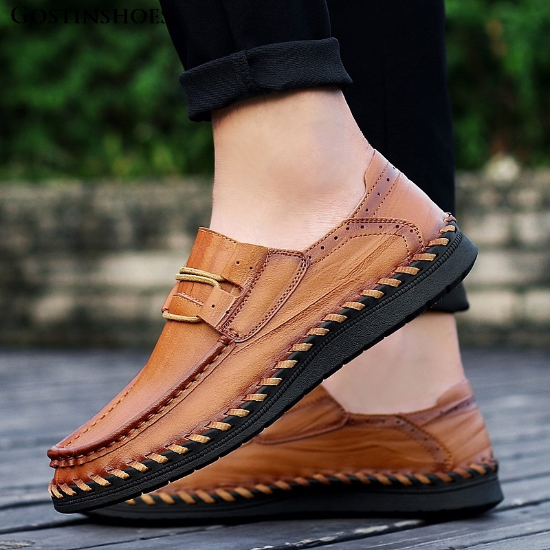 Fashion Shoes Men Leather Casual Loafers Flats Moccasins Driver Mocassin Homme Size 46 47