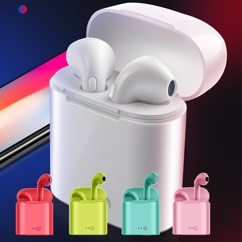 I9s i7s TWS беспроводные Bluetooth стерео наушники вкладыши гарнитура с зарядным устройством для iPhone 6 7 8 x Android IOS систем