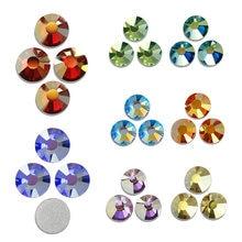 Revêtement brillant brillant brillant brillant AB CZ, strass cristal à dos plat, pierre scintillante pour bricolage nail art, diamant de mariage