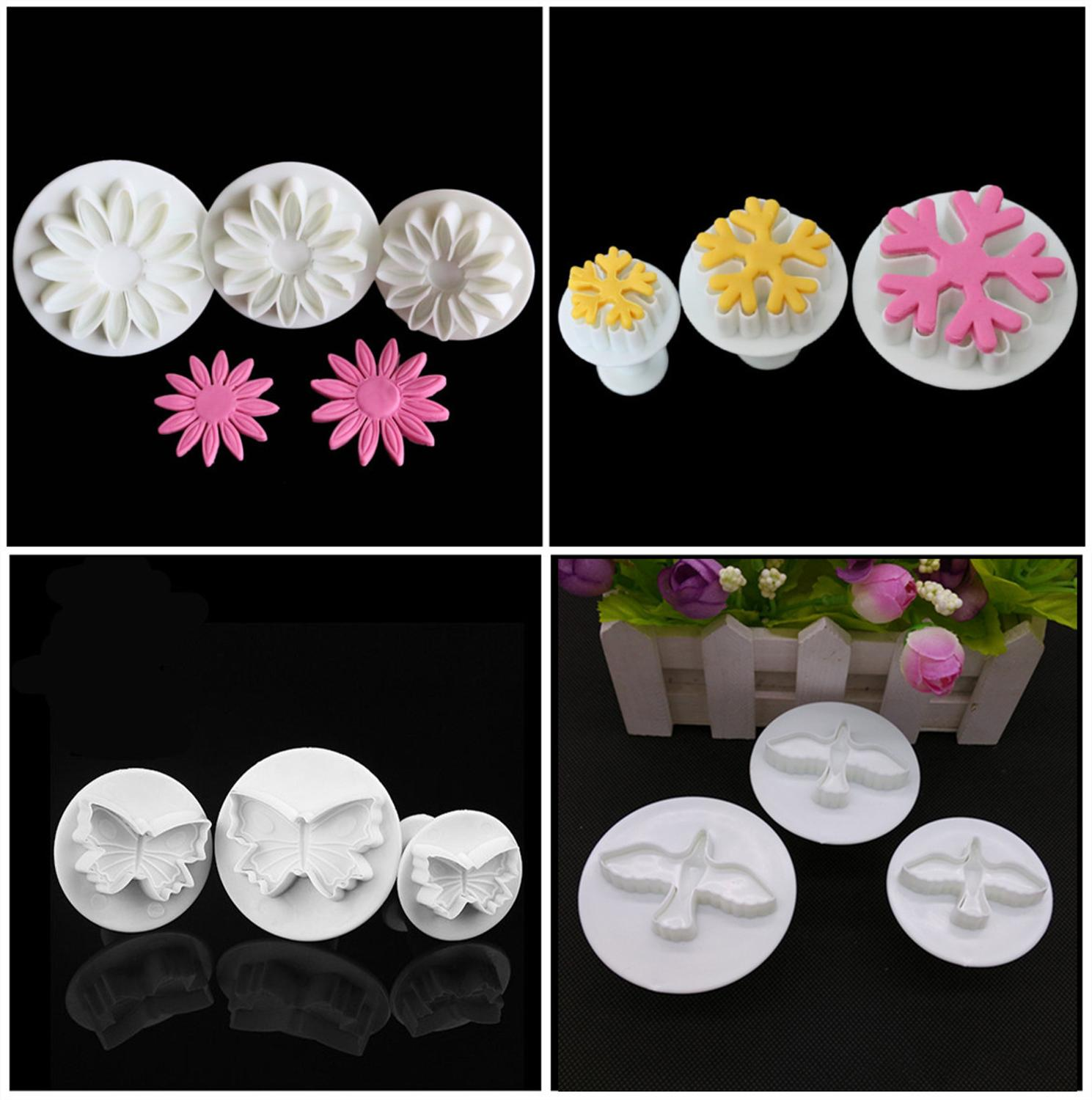 3Pc Plastic Fondant <font><b>Cake</b></font> <font><b>Decorating</b></font> Sugar Craft Plunger biscuits cookie <font><b>Cutter</b></font> <font><b>Flower</b></font> snowflake Pigeon star Mold Home <font><b>Cake</b></font> <font><b>tools</b></font> image