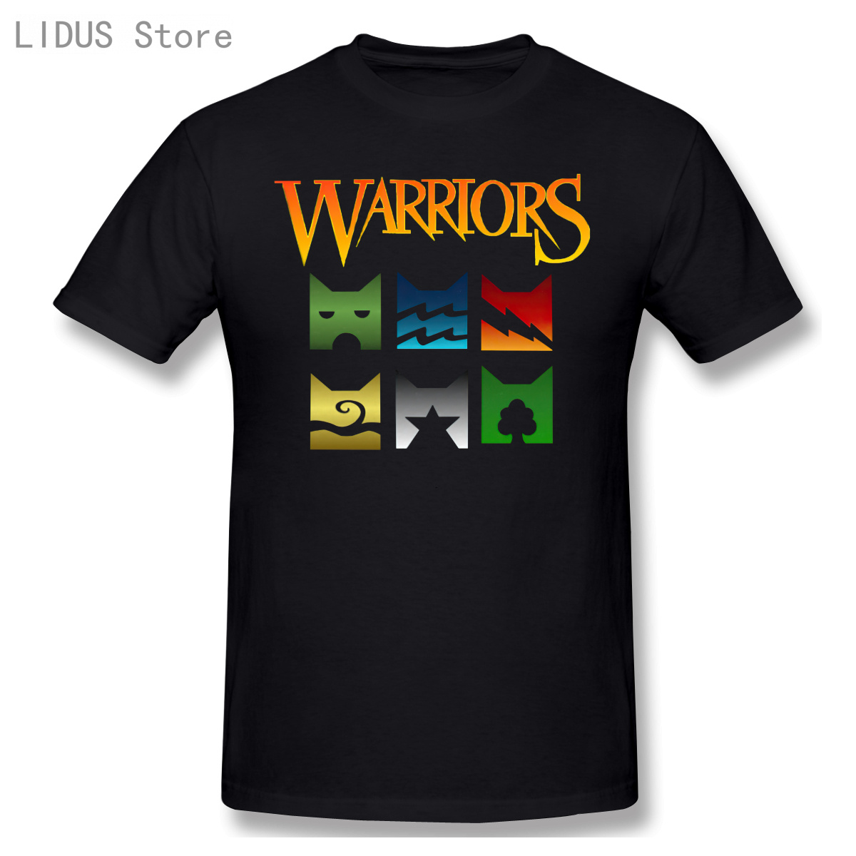 Warriors -Cat Logo Cool And Funny Short Sleeve Casual T-shirt Men Fashion O-neck 100% Cotton TShirts Tee Top