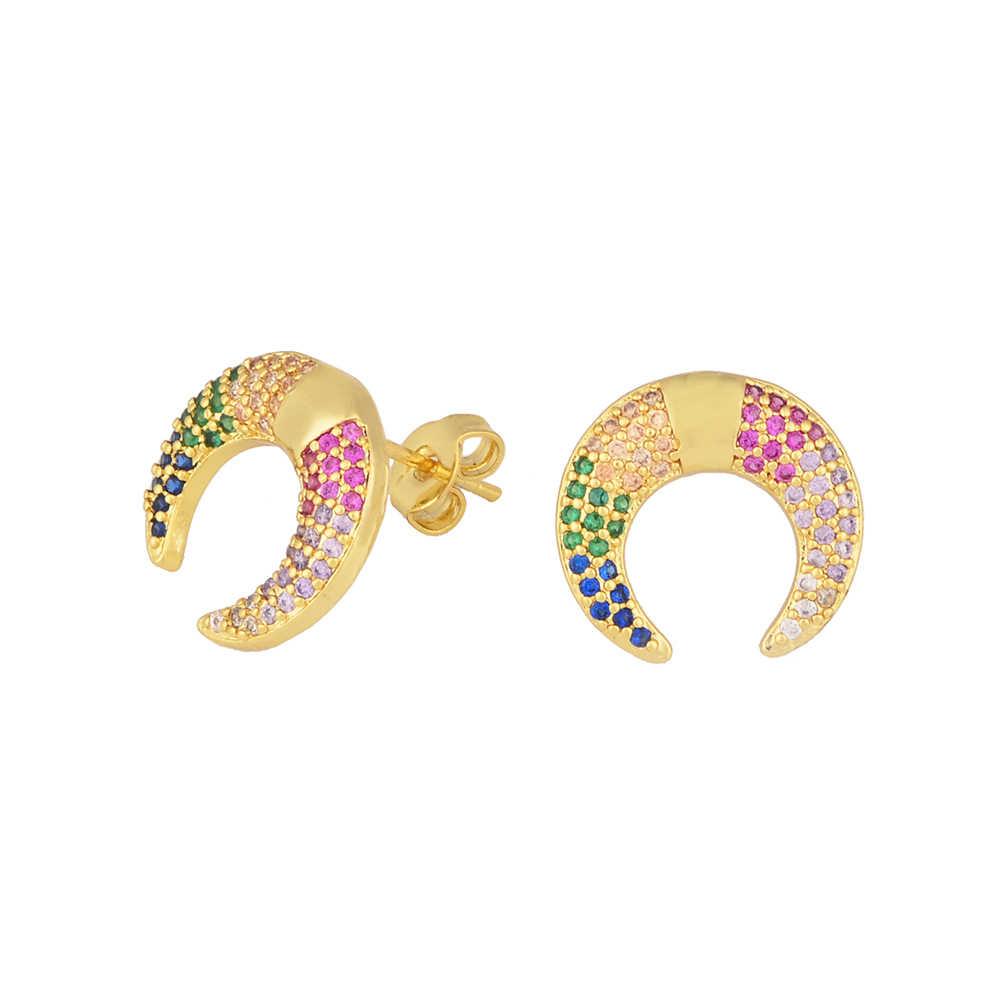เกาหลี Rainbow สตั๊ดต่างหูสร้อยคอหัวใจต่างหูผู้หญิงอุปกรณ์เสริม Zirconia Charm เครื่องประดับของขวัญ Dropshipping