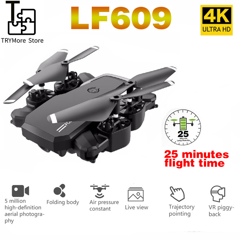 Lf609 Drone 4k With Hd Camera Wifi 1080p Dual Camera Follow Me Quadcopter Fpv Professional Drone High Grade Battery Toy For Kids