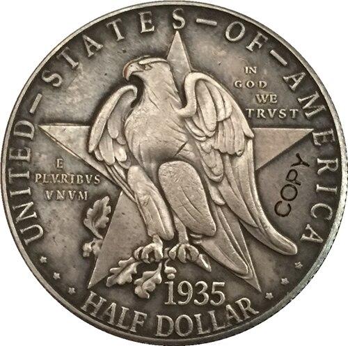 Monedas de copia de medio dólar USA 1935-D Blanco verde azul 3 colores piedras plata Color juegos de joyas para mujer COLLAR COLGANTE pendientes anillos EEUU tamaño caja de regalo gratis
