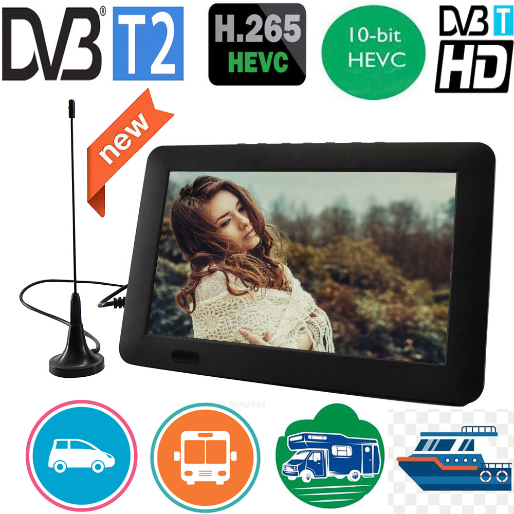 Leadstar 9 Inch Portable Tv With DVB-T-T2 Hevc 10Bit 16:9 800*480 HD Digital Mini TV Color Television Player for Home Car
