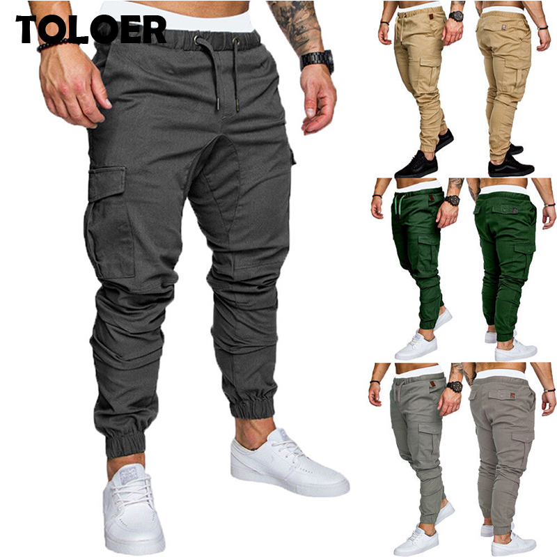 UUYUK Men Cotton Loose Cargo Pant Big Tall Casual Solid Pants