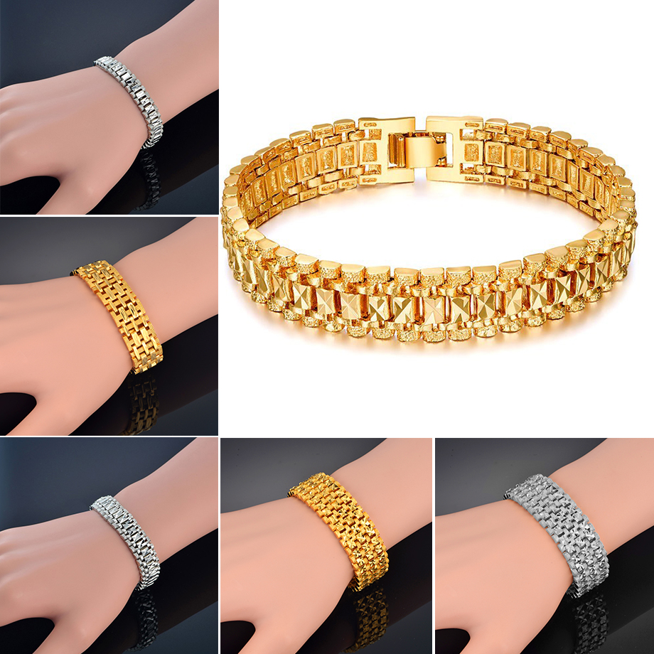 Chunky Mens Hand Chain Bracelets Male Wholesale Bijoux Silver Gold Color Chain Link Bracelet For Men Jewelry pulseira masculina in Chain Link Bracelets from Jewelry Accessories