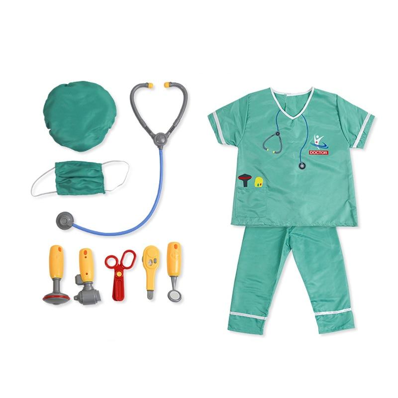 Children Boys Doctor Cosplay Costumes Halloween Carnival Birthday Gift Kids Girls Hospital Lab Medical Uniform Nurse Gown