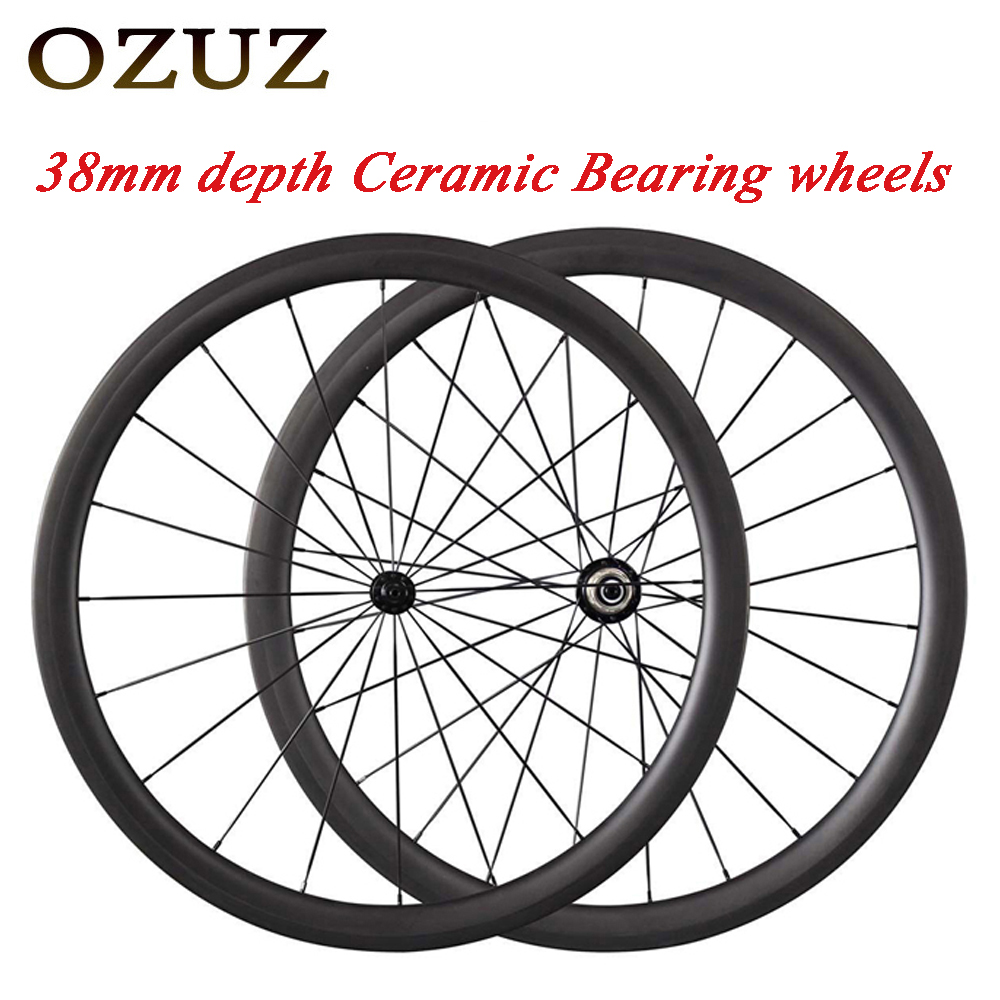 OZUZ Low price Ceramic Bearing Carbon Road Bike Wheels 38mm deep bicycle 23mm Wide 3k Matte 700c Clincher Bicycle Wheelset