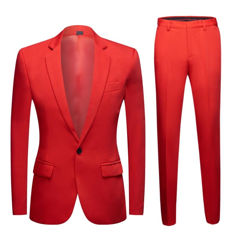 2020 New Men Colorful Wedding Suit Blazer Plus Size Elegant Yellow Green Blue Purple Suits Jacket Pants 2Pcs Festival Gala Dress